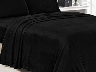 Noble House lavana Soft Brushed Microplush Bed Sheet Set Queen Size   Black