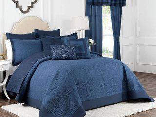 Vue Signature Bensonhurst Embossed Blue Bedspread  Queen