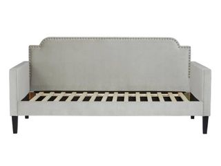 Handy living Fawn Grey Velvet Upholstered Twin size Rounded Back Daybed