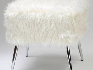 Cortesi Home Olivia Imitation Fur Ottoman