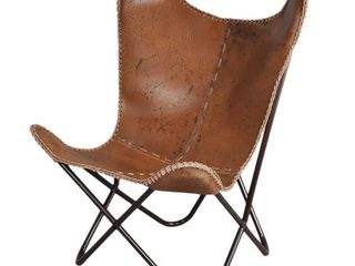 Carbon loft larkin Rustic Brown leather Butterfly Chair Retail 246 49