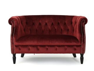 Milani Tufted Scroll Arm Velvet loveseat
