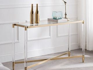 Colton Acrylic Console Table  Glam  Plated Gold by Ember Interiors