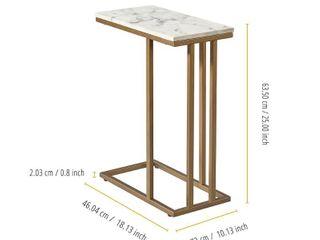 Marmo C Shape Table Faux Marble Brass   Versanora