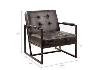 Strick   Bolton Normani Grey Faux leather Metal Frame lounge Chair