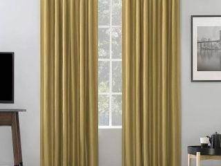 84 x50  Evelina Faux Dupioni Silk Thermal Back Tab Extreme Blackout Curtain Panels   Set of 2
