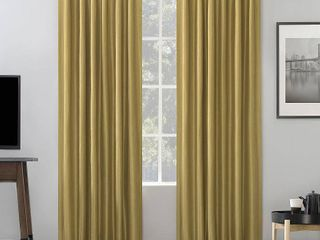 84 x50  Evelina Faux Dupioni Silk Thermal Back Tab Extreme Blackout Curtain Panels   Set of 2