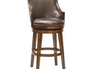lyman Upholstered Back Wood Swivel Bar Stool