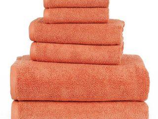 lavish Home 6 Piece 100  Egyptian Cotton Zero Twist Towel  Brick