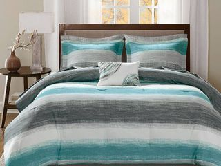 Aqua Seth Comforter and Cotton Sheet Set   Queen