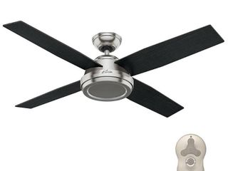 Hunter 52  Dempsey Brushed Nickel Ceiling Fan w  Handheld Remote