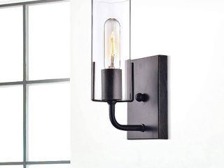 Alfreda Antique Black Wall Sconce w  Clear Glass Cylinder