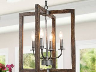 Modern Farmhouse 4 lights Foyer Pendant Faux Wood Island lighting   W 14  x H 23 5  Retail 189 99