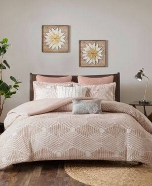 Ink Ivy Ellipse Full Queen 3 Piece Cotton Jacquard Comforter Set Bedding