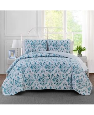 Keeco Watercolor Damask Reversible 3 Pc  King Quilt Set