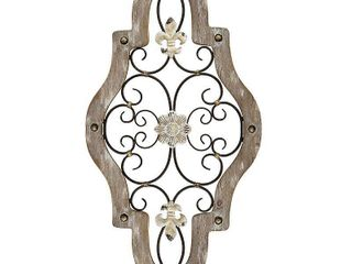 Stratton Home Decor French Country Scroll Wood and Metal Wall Decor