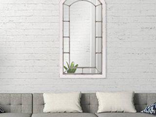 Patton Wall Decor Distressed Arch Windowpane Wall Mirror