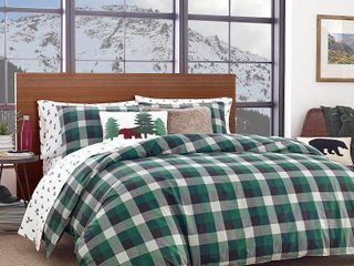 Full Queen Birch Cove Plaid Duvet Cover Set Green   Eddie Bauer