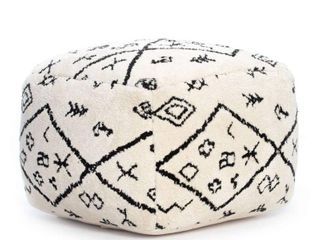 Menes 22 x22 x16  Black and Ivory Pouf