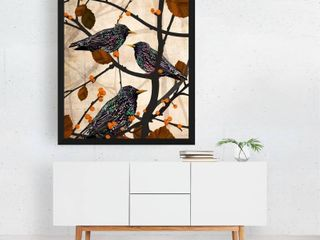 Animals Autumn Bird Birds and leaf Nature Black Framed Art Piece