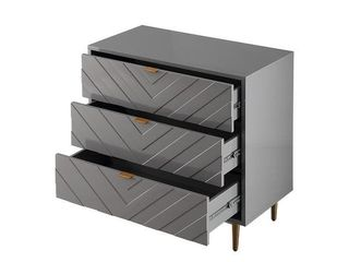 3 Drawer Chevron Side Table with Storage