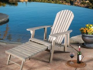 Hayle Outdoor Reclining Wood Adirondack Chair with Footrest by Christopher Knight Home Retail 338 99