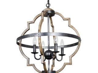 Antique Distressed Wood 4 light Candle Style Hall Foyer Chandelier