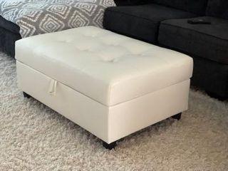 Acme Furniture Kiva White Faux leather Storage Ottoman