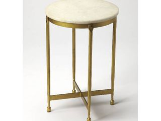 Handmade Butler Claypool White Marble End Table