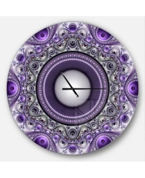 38  Designart  Purple Fractal Pattern with Circles  Oversized Modern Wall Clock