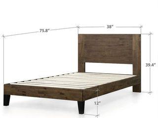 Carbon loft Sollano Pine Wood Platform Bed w  Headboard   King