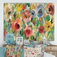 Vivid Coral Floral I    Cottage Canvas Wall Art