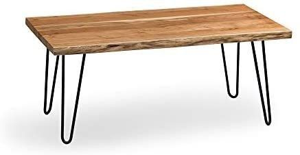 Alaterre Furniture Hairpin Natural Wood with Metal 48  large Coffee Table  live Edge