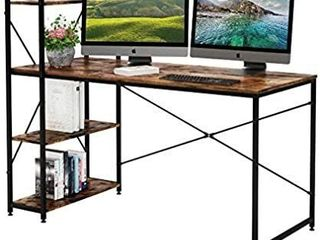 Bestier 55 Inch Computer Desk with Shelves  Modern Writing Desk with Bookshelf PC Desk with Reversible Storage Shelves  Study Corner Desk Table for Home Office Easy Assemble  55 Inch  Rustic Brown