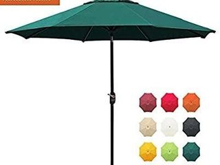 EliteShade Sunbrella 9Ft Market Umbrella Patio Outdoor Table Umbrella with Ventilation and 5 Years Non Fading Top Forest Green