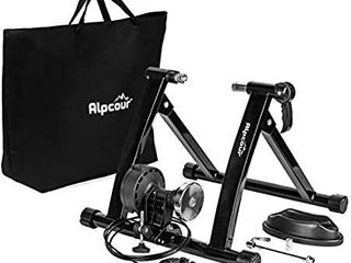 Alpcour Bike Trainer Stand a Portable Stainless Steel Indoor Trainer w Magnetic Flywheel  Noise Reduction  6 Resistance Settings  Quick Release   Bag a Stationary Exercise for Road   Mountain Bikes