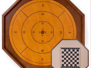 Tournament Crokinole   Checkers   30 Inch Official Size   Classic Dexterity Board Game for Two Players   Canadian Heritage Family Tabletop Game   Includes 24 Black   White Discs  Rules   Game Board