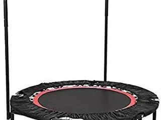 ANCHEER Fitness Exercise Trampoline with Handle Bar  40  Foldable Rebounder Cardio Workout Training for Adults or Kids   US Stock  Max  load 300lbs  Zero Stretch Jump Mat   legs Adjust Red