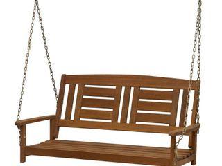 Furinno FG16409SC Tioman Hardwood Hanging Porch Swing  2 Seater Without Frame  Natural