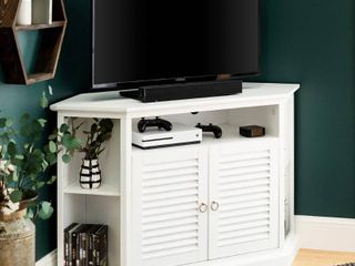 Newport louvered Door Corner TV Stand by Birch Harbor