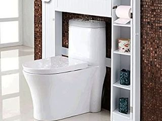 Giantex Over The Toilet Rack Bathroom Shelf Storage Cabinet Wooden Drop Door Freestanding Spacesaver Improvements  White