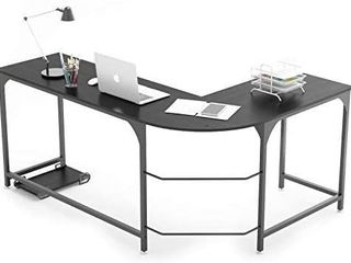 WeeHom Reversible l Shaped Desk Corner Gaming Computer Desks for Home Office PC Workstation Table Black