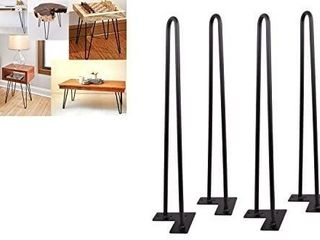 SmartStandard 26  Raw Steel Industrial DIY Hairpin legs Set of 4  Rustic Mordern Furniture Satin Black Table legs  with Floor Protectors for Desk  Bar  Night Stand