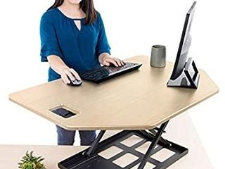 Stand Steady X Elite Pro Corner Standing Desk   40 Inch Corner Sit to Stand Desk Converter Ideal for Cubicles and l Shaped Desks  Easy Height Adjustable and Fully Assembled   Maple