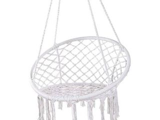 Y  STOP Hammock Chair Macrame Swing   Max 330 lbs Hanging Cotton Rope Hammock Swing Chair for Indoor and Outdoor Use  White