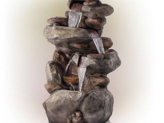 Alpine Corporation 4 Tiered Rock Fountain With led lights   Space Gray