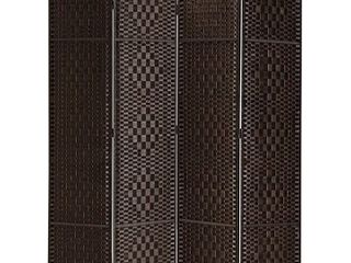 Rose Home Fashion RHF 6 ft Tall 15 7  Wide Diamond Weave Fiber 4 Panels Room Divider 4 Panels Screen Folding Privacy Partition Wall Room Divider Freestanding 4 Panel  Dark Coffee