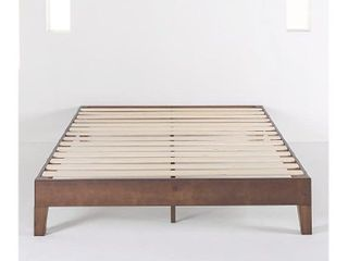 Mellow Naturalista Grand   12 Inch Solid Wood Platform Bed With Wooden Slats