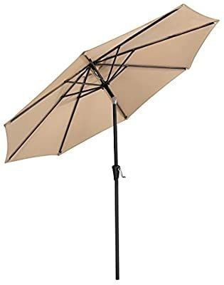 SONGMICS 9 Feet Patio Umbrella  Outdoor Table Umbrella  Sun Shade  Octagonal Polyester Canopy  with Push Button Tilt and Crank Mechanism   for Gardens  Balcony and Terrace Tan UGPU09BEV1