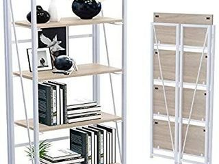 GHQME No Assembly Folding Bookshelf Storage Shelves 4 Tiers Vintage Multifunctional Plant Flower Stand Storage Rack Shelves Bookcase for Home Office  Brown and Black